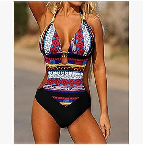 cb52b206ca Amazon.com  WYHUI Lady Charming Bohemia Exotic Blue One Piece Monokini  Halter Swimwear Brand Muslim Swimsuit Blue XXL  Home   Kitchen