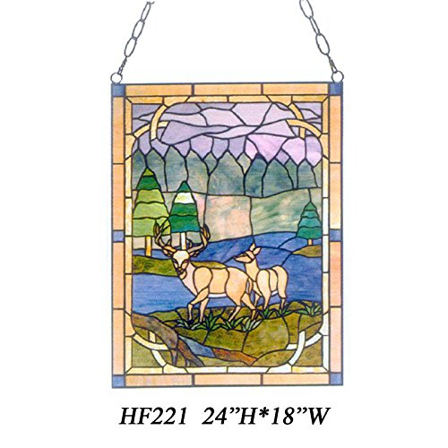 HDO Glass Panels HF-221 Tiffany Style Stained Church Art Glass Wapiti Landscape Window Hanging Glass Panel Suncatcher, 24
