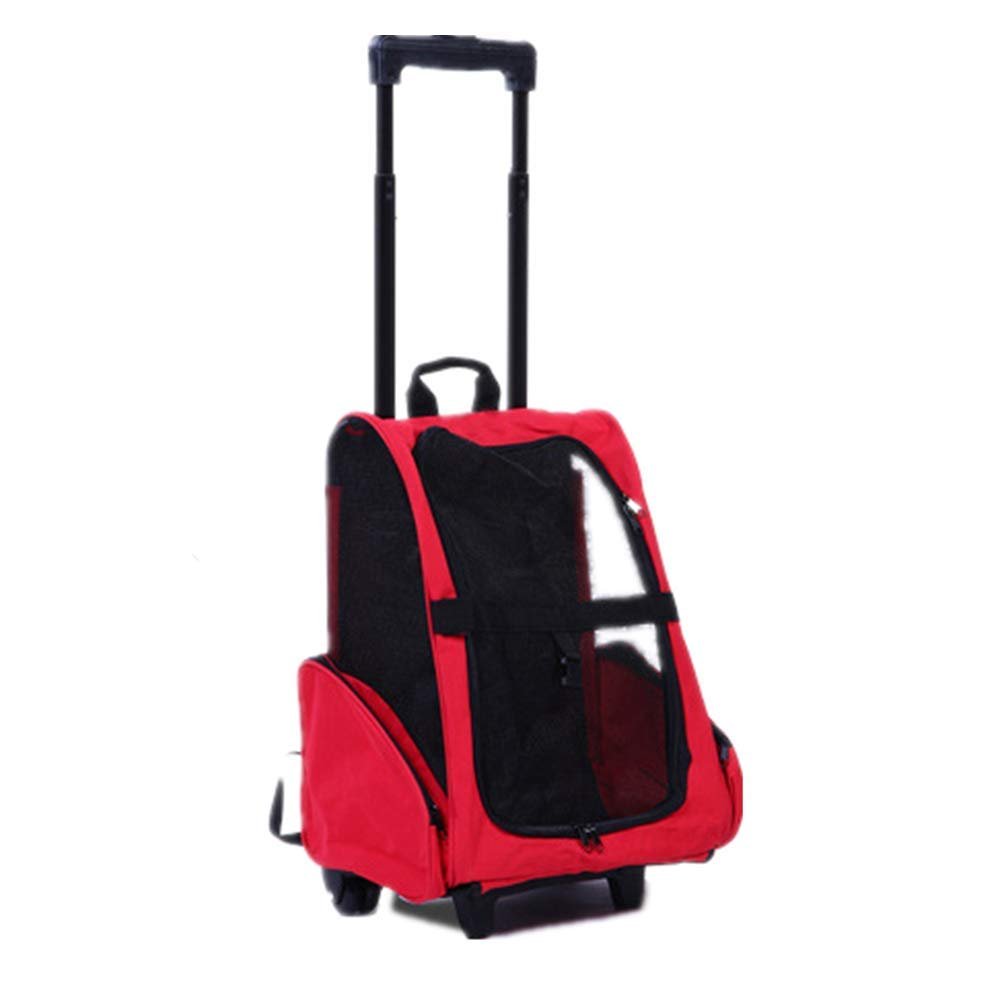 Pet Trolley Bag, Retractable Handle, Breathable Polyester Net Window, Large Capacity Space Pet Free Stretch, Easy to Carry
