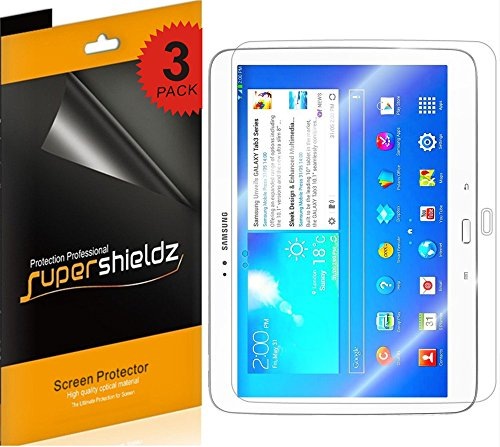 3 Pack Clear Screen - [3-Pack] Supershieldz- High Definition Clear Screen Protector for Samsung Galaxy Tab 3 10.1 inch + Lifetime Replacements Warranty [3-PACK] - Retail Packaging