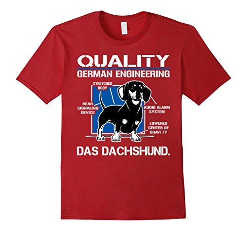 Mens Quality German Engineering Das Dachshund - Doxie T shirt 3XL Cranberry