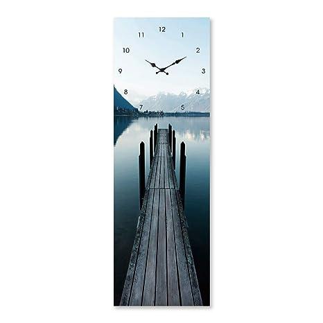 Cuadro de Cristal Templado con Reloj Azul nórdico para salón de 20 x 60 cm Vitta