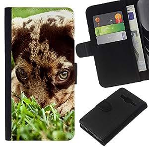 EJOY---La carpeta del tirón la caja de cuero de alta calidad de la PU Caso protector / Samsung Galaxy Core Prime / --Pequeño perrito Mutt Perro Mestizo
