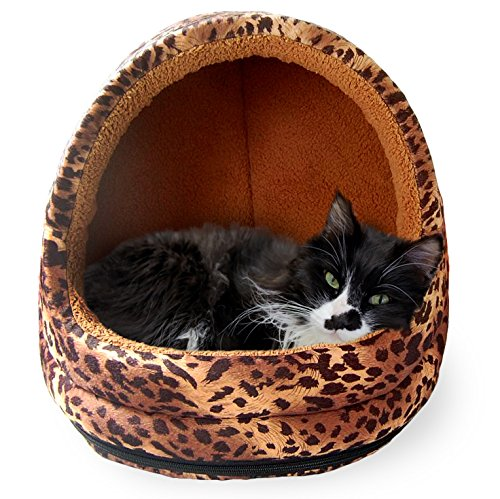 FurHaven Pet Hood Bed | Animal Fur Print Hood Pet Bed for Dogs & Cats, Leopard, One-Size