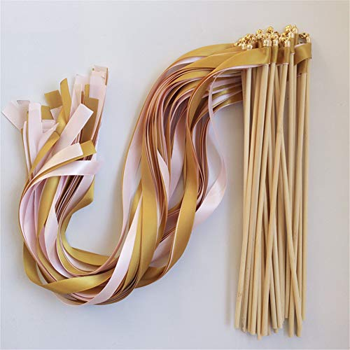 50pcs Gold Pink Wedding Ribbon Wands with Bell Ribbon Twirling Streamers Wedding Ribbon Stick -