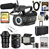 JVC GY-LS300CHU Ultra 4K HD 4KCAM Super 35 Pro Camcorder & Mic Handle Unit + 35mm CINE T/1.5 & 40-150mm Lens + 128GB Card + Hard Case + LED Video Light Kit