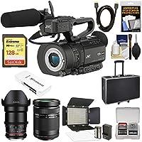 JVC GY-LS300CHU Ultra 4K HD 4KCAM Super 35 Pro Camcorder & Mic Handle Unit + 35mm CINE T/1.5 & 40-150mm Lens + 128GB Card + Hard Case + LED Video Light Kit