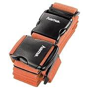 Hama 2-Wege-Gepäckgurt (doppeltes Band zum sicheren Verschließen der Koffers auf Reisen, 5 x 200 und 5 x 230 cm) orange