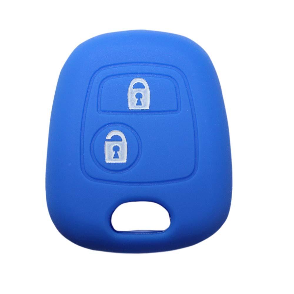 YLC Housse de Protection cl/és de Voiture en Silicone Car Key Cover Peugeot /& Citroen 2 Boutons cl/és de Voiture Bleu Marine