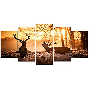 Pyradecor Brown Canvas Prints Wall Art Deer Elks in Autumn Sunset Forest Pictures Paintings for Living Room Bedroom Kitchen Home Decorations 5 Piece Modern Giclee Animal Scenery Landscape Artwork