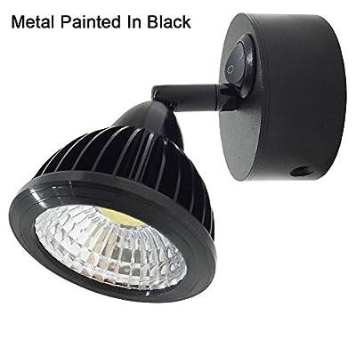 12v-LEDlight Small Bedside Light Fixtures - Black Bedside Lamp Lantern Flood Beam - Switched LED Reading Sconce - 3w, Warm White