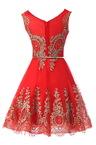 Sunvary Bridesmaid 2019 Dresses Graduation Lace Red1 Wear Dress Short Cocktail for Sleeveless Prom Homecoming rw1xqSXr
