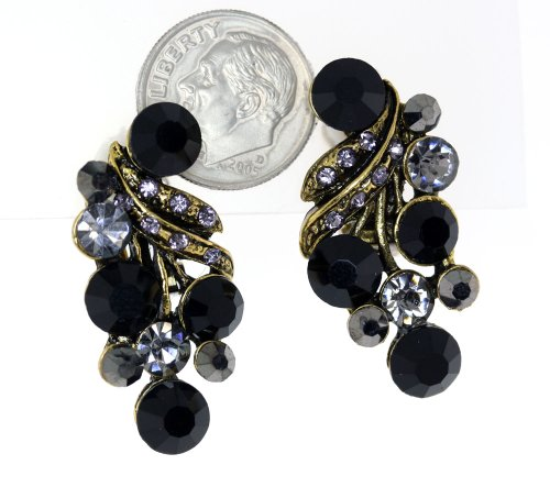 Vintage Austrian Sparkling Crystal Clip-On Earrings - Black