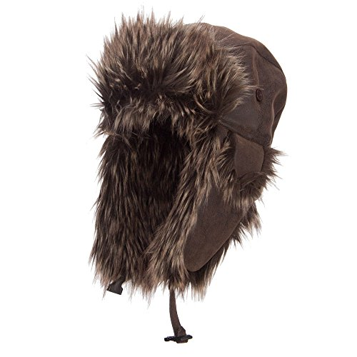 Faux Leather and Fur Trooper Hat - Brown XL