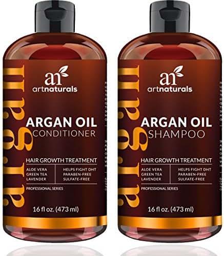 ArtNaturals Moroccan Argan Oil Hair Loss Shampoo & Conditioner Set - Hair Regrowth (2x16Oz) Sulfate Free- Treatment for Hair Loss, Thinning Hair & Hair Growth, Men & Women- Made W/ Organic Ingredients