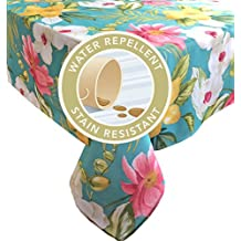 Calla Lily Teal Tropical Floral Summer and Spring Indoor/Outdoor Soil Resistant and Water Repellent Fabric Tablecloth - Patio, Picnic, BBQ, Dining Room Table Linens. 60 Inch X 84 Inch Oblong, Teal