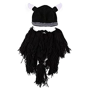 7c698599f7e YEKEYI Winter Warm Mask Hat Viking Beard Beanie Horn Hat Knitted Wool Funny  Skull Cap