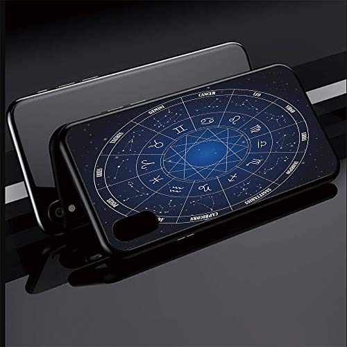 Phone case Compatible with iPhoneX iPhoneXS Ultra Slim Magnet Protective Case Metal Frame,Chart in Wheel Shape with Dates in Space Dots Image ,Tempered Glass Back [Magnetic Adsorption - Space Wheel Magnet