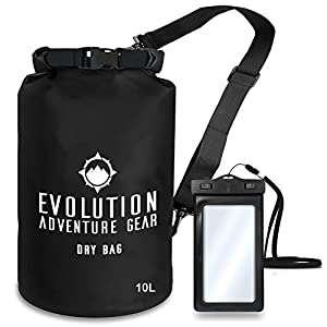 EVOLUTION Floating Waterproof Dry Bag – Professional Adventure Gear - Roll Top Compression Sack for Kayaking, Boating, Hiking, Fishing, Camping and Outdoor Travel – Waterproof Phone Case – 10L Black