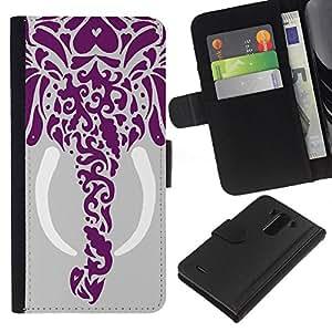 KLONGSHOP // Tirón de la caja Cartera de cuero con ranuras para tarjetas - Dibujo Elefante Arte Colmillo Gray - LG G3 //
