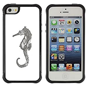 KROKK For Iphone 5C Phone Case Cover For Iphone 5C Phone Case Cover - seahorse art drawing pencil graphic - Rugged Armor Slim Protection Shell