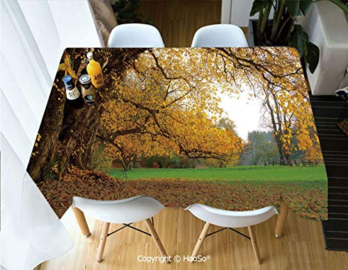 HooSo Rectangle Table Cloth, Water Resistant Microfiber Tablecloth, Decorative Fabric Table Cover for Outdoor and Indoor Use,Fall,Autumnal Park with Big Ancient Oak Tree and,60