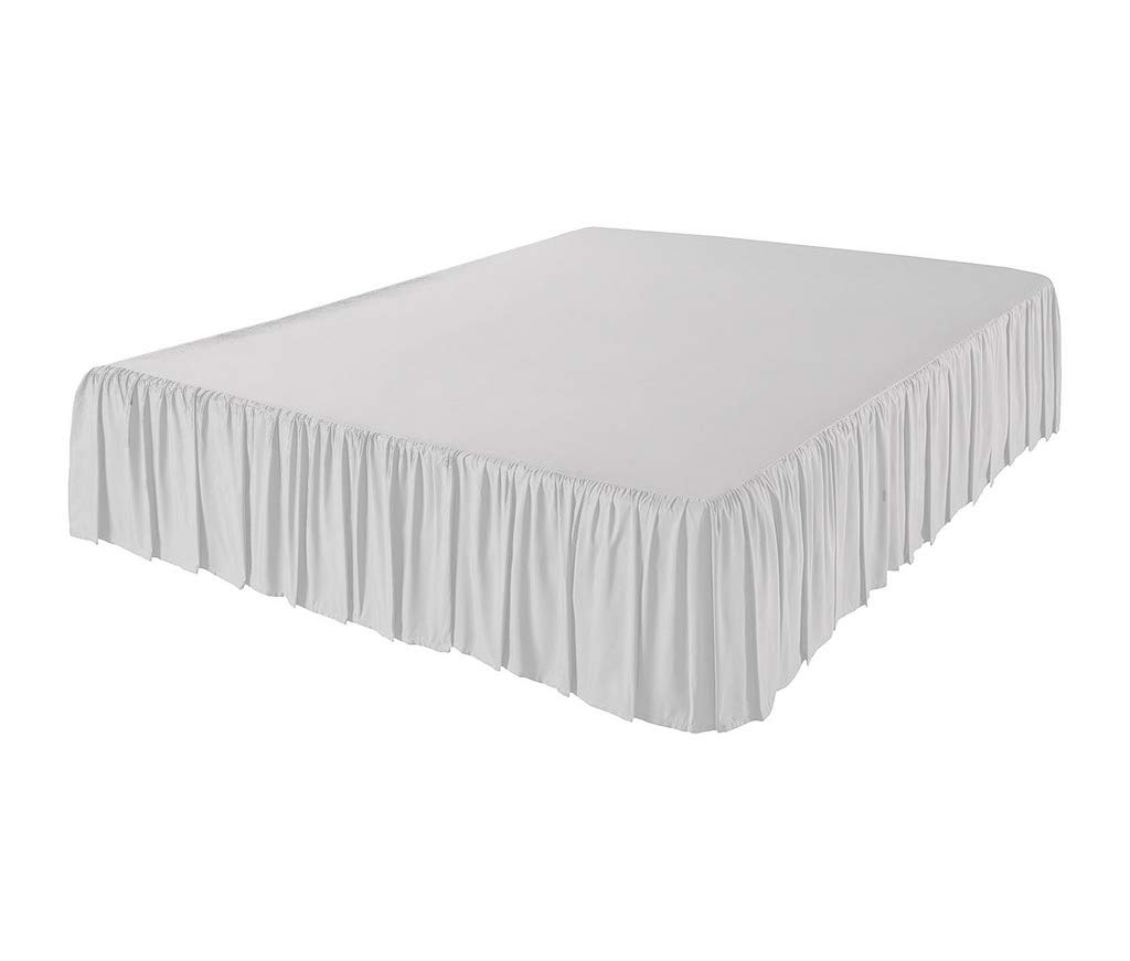 The Great American Store 600 TC 100% Cotton 3 Side Coverage Ruffle/Gathered Bed Skirt 20 Inch Drop Length Olympic Queen Solid White