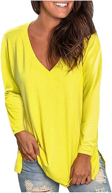 Amlaiworld Blusas para Mujer Verano Amarillas Camisa de Manga Larga Elegante de Color sólido con Cuello en v para Mujer Blusa Casual Tops Blusa Camisetas Camisas Casual Pullover: Amazon.es: Ropa y accesorios