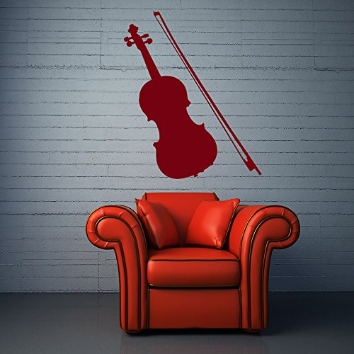 (Wall Decals String Bow Musical Instruments Violin Art Symphonic Music Studio Vinyl Decal Sticker Home Décor Music School Bedroom Living Children's Girl Boy Room Murals Design Music Stores M134)