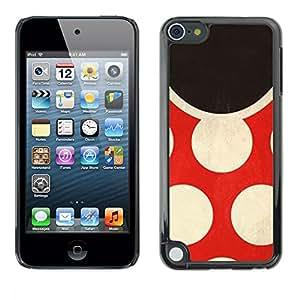 PC/Aluminum Funda Carcasa protectora para Apple iPod Touch 5 Polka Dot Red Vintage Fashion / JUSTGO PHONE PROTECTOR