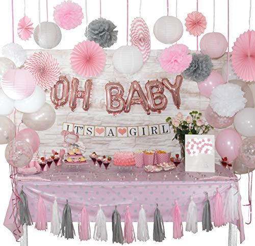 +100 Pcs Baby Shower Decorations for Girl | White, Coral Pink and Gray Theme | Balloons | Banner | Pom Poms | Lantern | Tassel Garland | Fan | Sash -