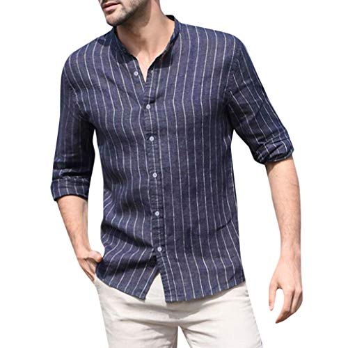 Men's Button T Shirts Baggy Cotton Linen Striped Long Sleeve Retro Tops Blouse (XL, Navy)
