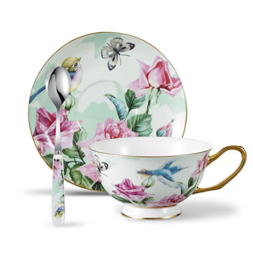 Panbado 3 Piece Bone China Tea Cup and Saucer Set with Spoon 6.8 oz, Vintage Porcelain Coffee Cup Set, Service for 1, blue robin flowers