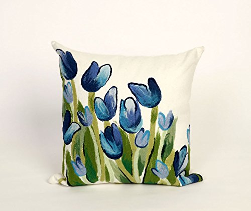 """UPC 701017277286, Allover Tulips Blue 20"""" Square Indoor Outdoor Pillow"""