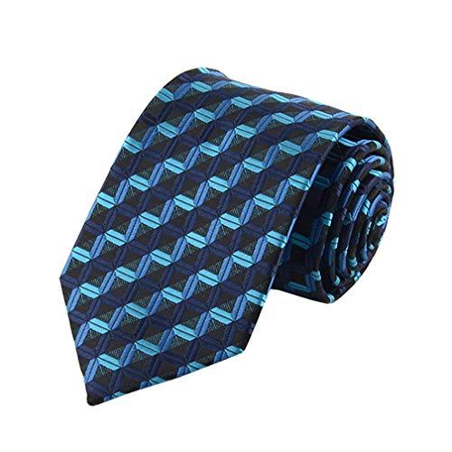 100% Silk Tie - MENDENG New Men's Dark Blue Stripes Silver 100% Silk Necktie Classic Striped Tie