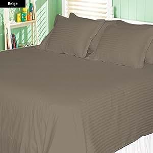 100% Egyptian Cotton 28 Inch Deep Pocket 600 TC Stripe Pattern 6 Piece Sheet Set (King , Beige)