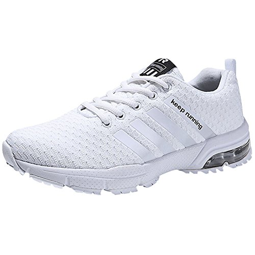 Wealsex Men Shock Absorbing Air Running Shoes Casual Multi Sport Running Trainers Fitness Athletic Jogging Sneakers White