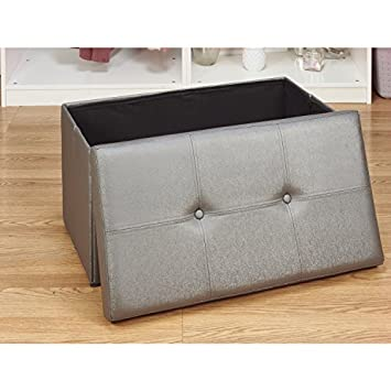 Simplify Collection 30-Inch Faux leather Folding Storage Ottoman, Metalic Pewter
