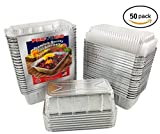 Pactogo 2 lb. Aluminum Foil Loaf/Bread Pan Tins w/Clear Dome Lid (Pack of 50 Sets)