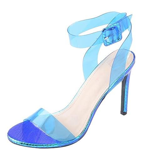 6631c4ee4b96a WSKEISP Womens Clear Ankle Strap Heels Open Toe Slingback Stiletto Heeled  Strappy Sandals
