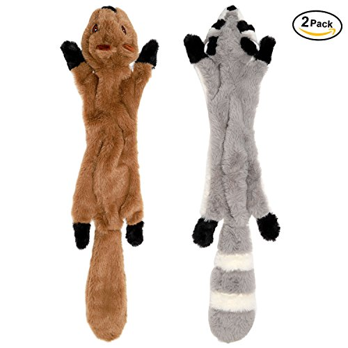 LOVEKONG Stuffingless Dog Toys, Stuffing Free Dog Chew Toys Set with Squirrel and Raccoon Squeaky Plush Dog Toy for Medium and Large Dogs 2Pack-24Inch (Squeaky Chew Toy Dog)