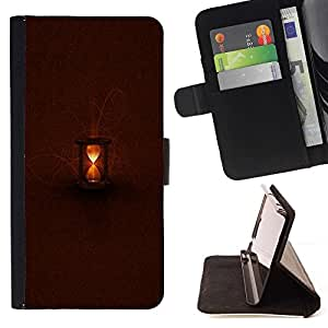 For Sony Xperia Z3 Compact / Z3 Mini (Not Z3) Case , Castaño claro Tiempo Profundo en espera- la tarjeta de Crédito Slots PU Funda de cuero Monedero caso cubierta de piel