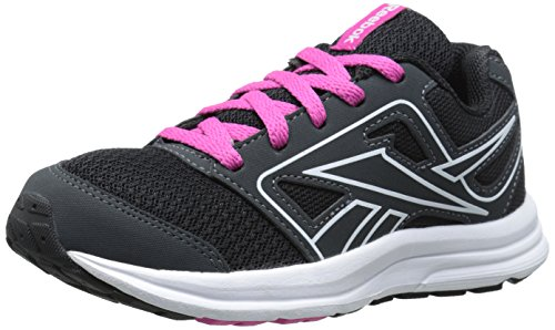 Reebok Zone Cushrun Running Shoe (Little Kid/Big Kid), Gravel/Black/Charged Pink/White, 11 M US Little Kid