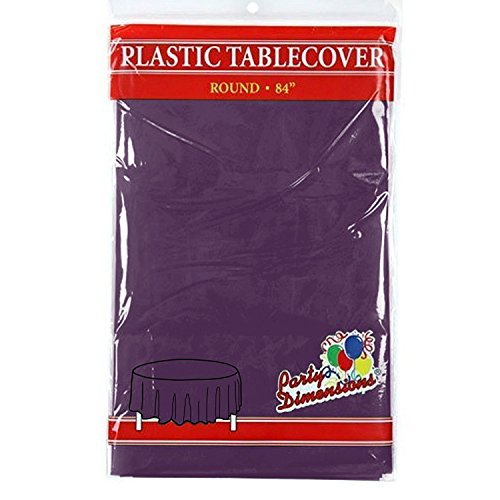 Purple Round Plastic Tablecloth - 4 Pack - Premium Quality Disposable Party Table Covers for Parties and Events - 84