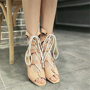 LvYuan Mujer-Tacón Cuña-Innovador Zapatos del club-Sandalias-Vestido Informal Fiesta y Noche-Cuero Patentado Materiales Personalizados-Negro White