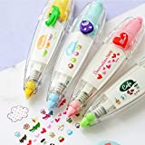 Roller Correction Tape Sticker Machines,Plus Corporation Decoration Rush Tape Pen,Novelty Cute Cartoon Stationery Masking Tape DIY Scrapbooking Stickers Diary Decor Tape (4PCS/Pack)