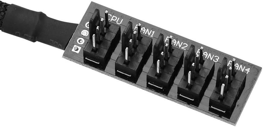 1 hub ventola femmina a 5 maschio progettato per gli appassionati con necessit/à di controllare numerosi cavo intrecciato adattatore mozzo splitter ventola CPU PWM a 4 porte PC a 4 pin Hub ventola PC