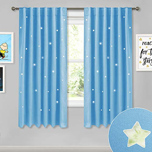 NICETOWN Children's Room Star Curtains - Fashion Zodiac Constellation Drapes with Laser Cutting Out, Nursery Bedroom Essential Window Covering for Play Room (Sky Blue, 2 Panels, 52W x 63L) ()