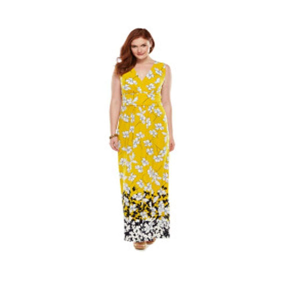 Chaps Plus Size Floral Surplice Maxi Dress, Yellow, Size 16 W at ...