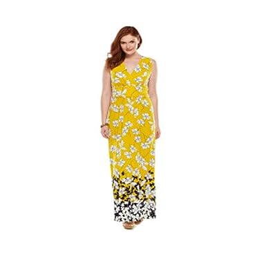 ef2e06779f0 Image Unavailable. Image not available for. Color  Chaps Plus Size Floral  Surplice Maxi Dress ...